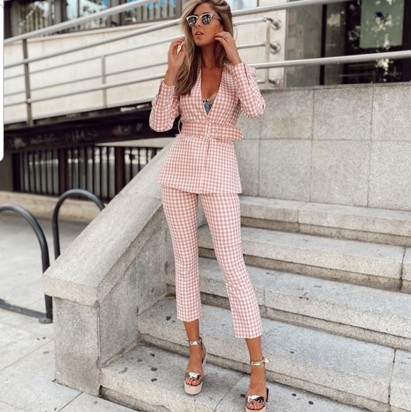 ZARA NEW WOMAN HIGH-WAIST FLARED GINGHAM TROUSERS WHITE PINK XS-XL 2753//029